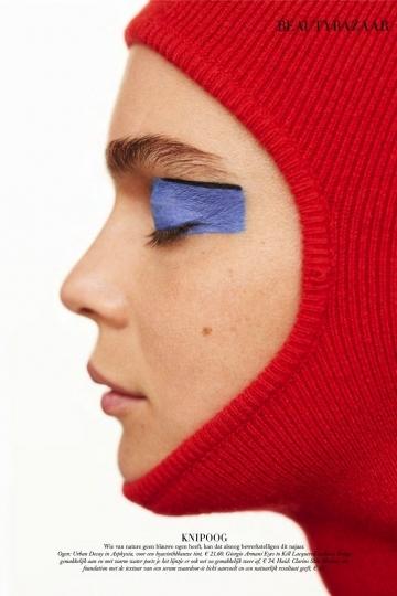 Warm and colorful Kim Noorda for beauty story Dutch Harpers Bazaar December 2018, Photographer Zoltan Tombor, Make-up Anita Jolles