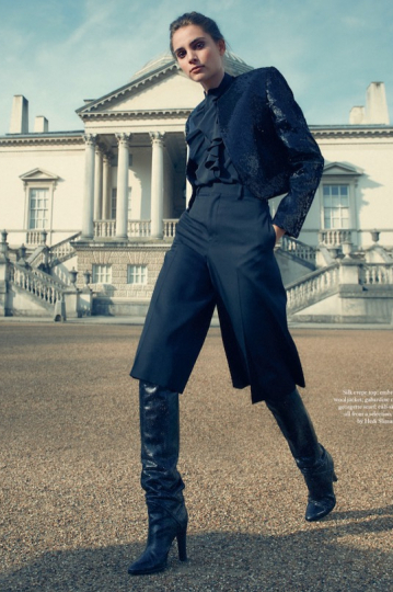 Romy Schönberger in an elegant story for Harpers Bazaar UK, Photographer Regan Cameron, Stylist Miranda Almond, Make-up Anita Keeling, Hair Perrine Rochemont