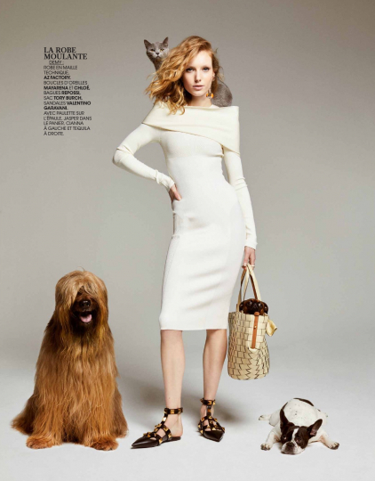 Animal lover Demy de Vries in a very cute story for Madame Figaro, Photographer Luc Braquet, Stylist Carole Matray, Make-up Maud Eigenheer, Hair Taan Doan