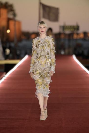 Demy de Vries for Dolce &Gabbana Alta Moda show Fall 2021 in Venice